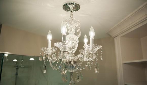 Bathroom reno - chandelier
