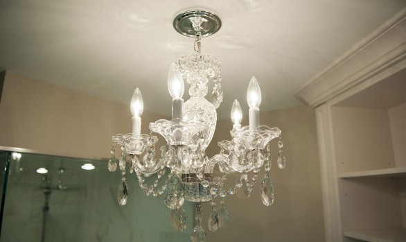 Bathroom reno - chandelier